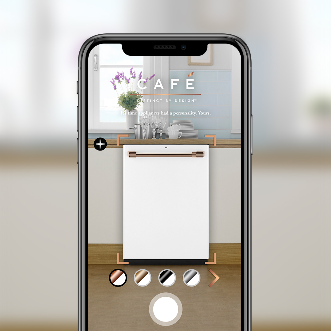 Café Appliances AR app displaying new dishwasher in kitchen