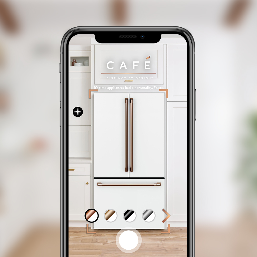 Café Appliances AR app displaying new refrigerator in kitchen