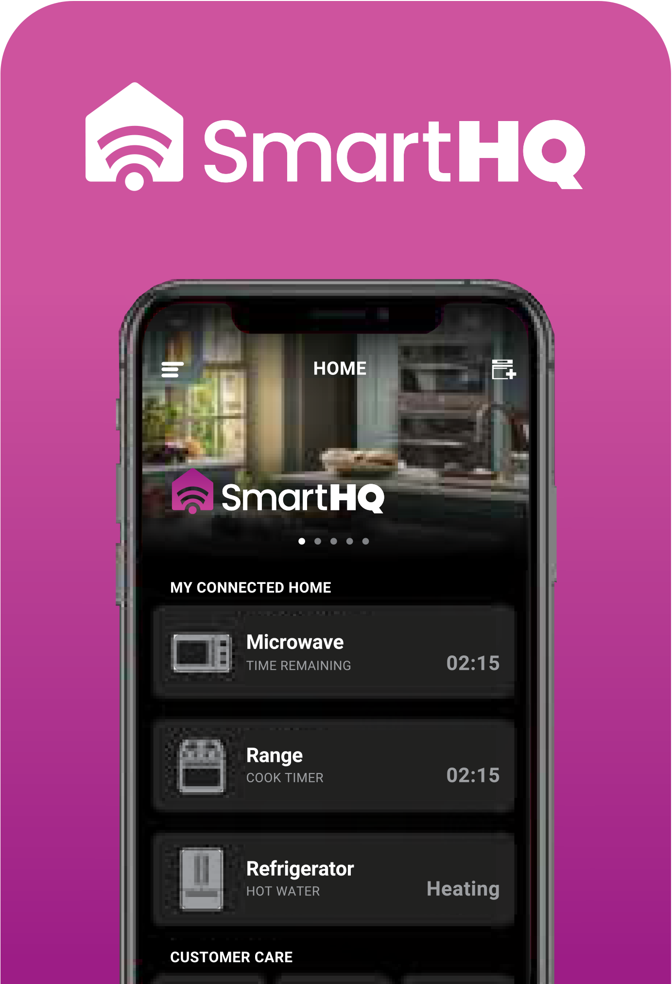 Phone screen displaying SmartHQ app on pink background