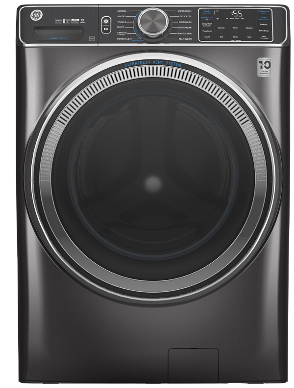 Front load washer shown in Diamond Gray
