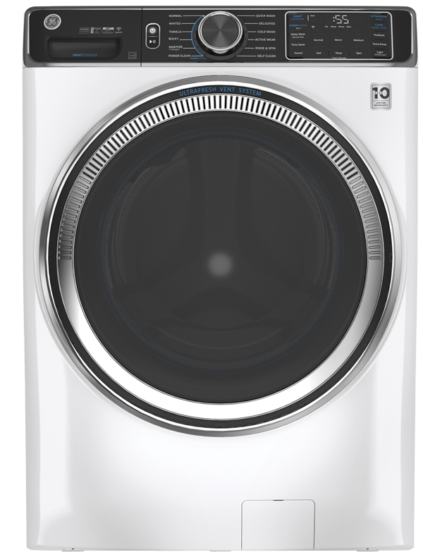 Front load washer shown in White